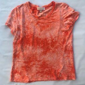 MICHEAL Kors Orange Linen Tie Dye Tee Shirt